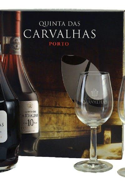 Quinta Das Carvalhas 10 Year Tawny Port 2 Glass Box